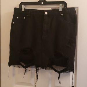 Boohoo Black Denim Holes Fishnet Skirt Goth Sz 12